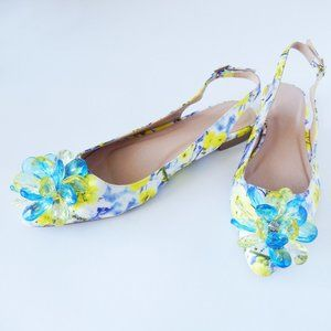ASOS Floral Slingback Beaded Flats